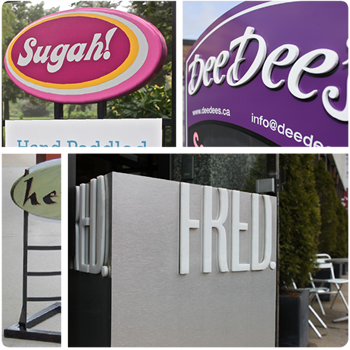 dimensional and sidewalk signs in NS