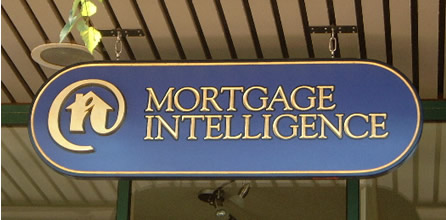 "Mortgage Intelligence 2"" HDU with incised V-carved text and dimensional logo. Custom mixed paint  accented with tonal variation and 23k gold  key line."