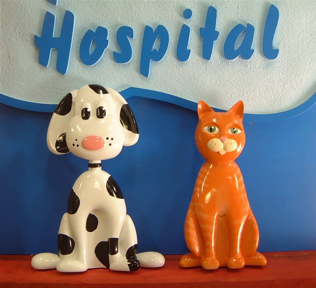 Animal Hospital Animals carved from HDU. Cedar shake pet house.
