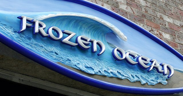 """Frozen Ocean 96"""" x 30"""" sculpturally carved HDU. Hand painted with custom mixed paints. French cleat method of install."""