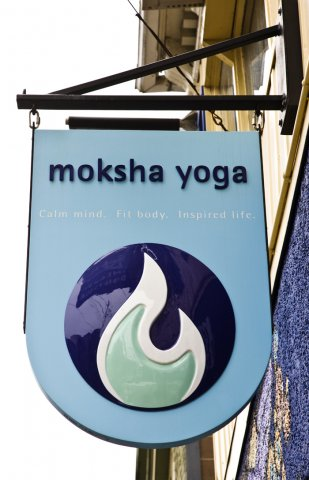 "Moksha Sculpturally carved logo finished with high gloss custom mixed paints. Approximately 30"" x 50"""