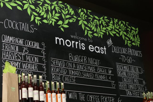 Morris East menu  Vinyl on chalkboard
